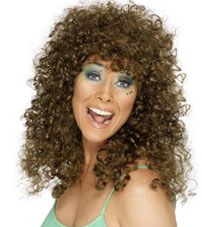 Ladies Glamour Fancy Dress Wig Brown Hen Party Curly Wig New Smiffys